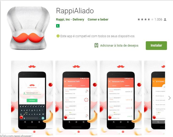 Baixe o Rappi aliado também na Google Play