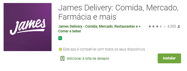 James Delivery na Play Store